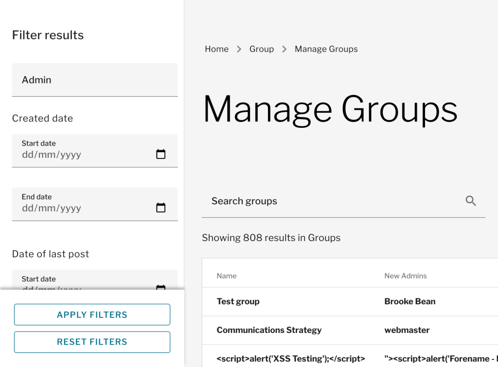Filtering in Manage Groups