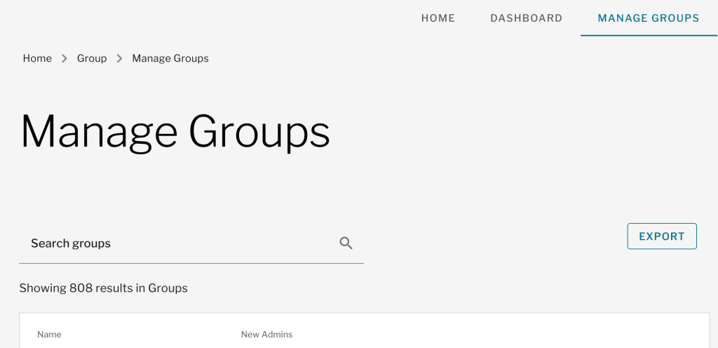Manage Groups Default View