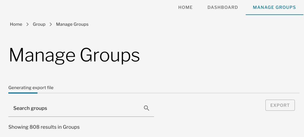 Using Export in Manage Groups