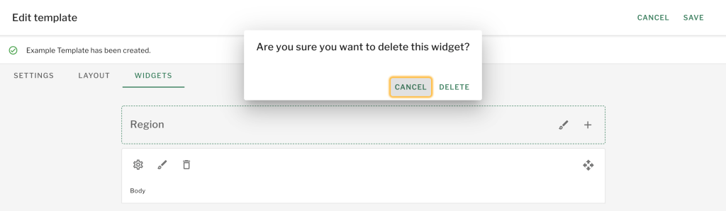 Select Delete Widget